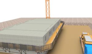 Exemple d'utilisation de modules de passerelles de travail en encorbellement pour travaux en hauteur
