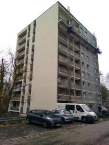 installation de plateformes de travail sur façades d'immeuble