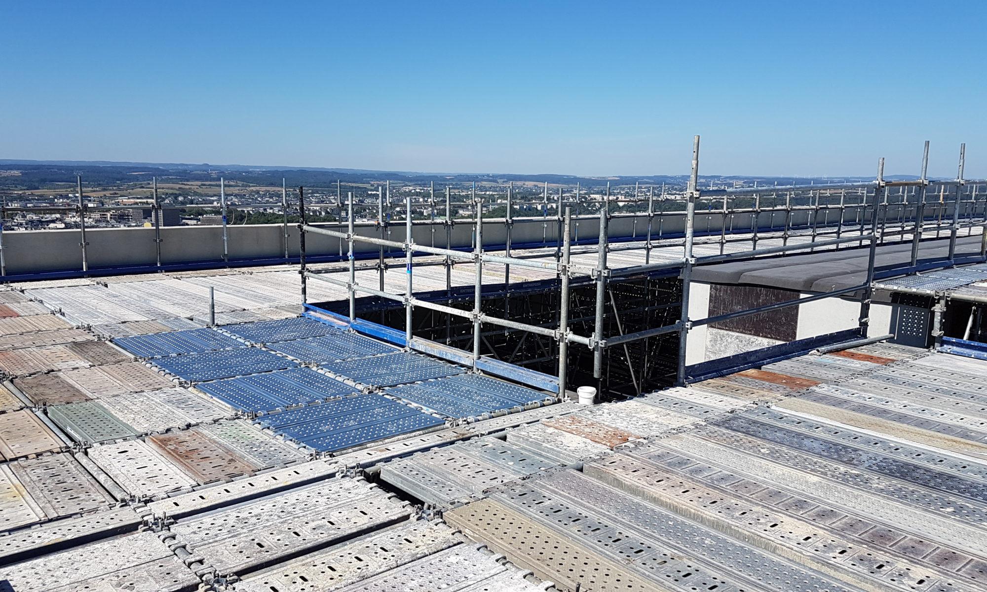 Podium pour rehausse de toiture ete travaux en hauteur